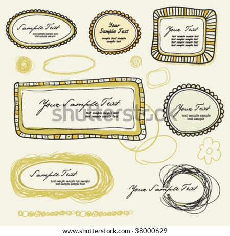 Hand-drawn vintage frames - stock vector