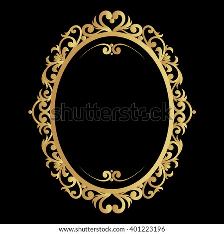 Hand drawn vintage gold circular or oval frame made in vector. Unique ornamental decorative cover for greeting card, wedding invitation, save the date with space for a text. Sketchy border collection - stock vector