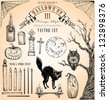 Hand Drawn Vintage Halloween 3 Vector Set - stock vector