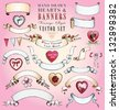 Hand Drawn Vintage Hearts and Banners Vector Set - stock vector