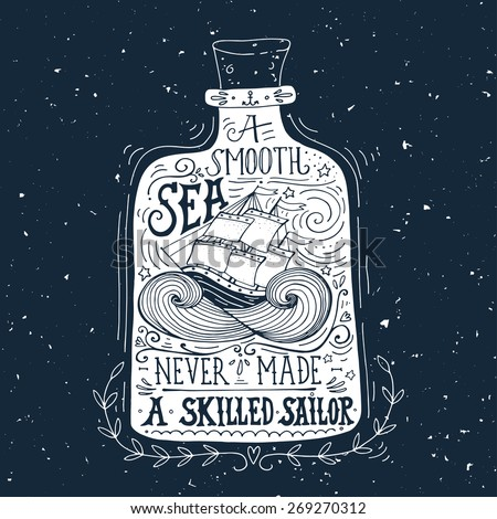 Hand drawn vintage label with a ship in a bottle and hand lettering on blackboard - stock vector