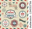 Hand drawn vintage labels and stamps - stock vector