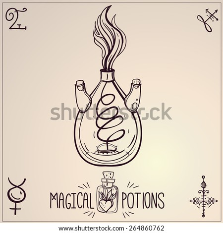 Hand drawn vintage laboratory icons sketch on beige background. Vector illustration.Back to School. Science lab objects doodle style sketch, Magical  potions. Alchemy and vintage medieval science.  - stock vector