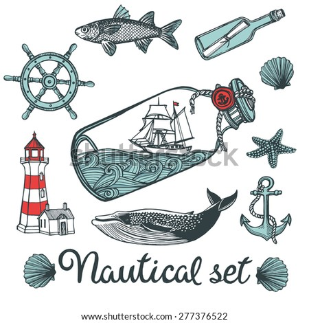 Hand drawn vintage nautical set. Anchor, fish, steering wheel, ship in a bottle, sea shell, whale, message in a bottle, sea star, lighthouse - stock vector