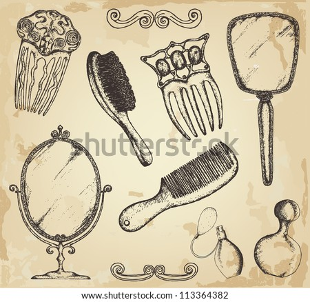 Hand drawn vintage salon - stock vector