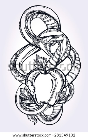 Hand-drawn vintage tattoo art. Vintage symbol, highly detailed hand drawn forbidden apple and snake, element of a Biblical story of Eve, sin temptation in linear style. Engraved isolated vector art. - stock vector