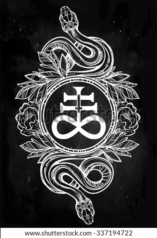 Hand-drawn vintage tattoo art. Vintage symbol, highly detailed hand drawn snakes with Satanic cross, symbol of Satan in linear style. Engraved isolated vector art. - stock vector