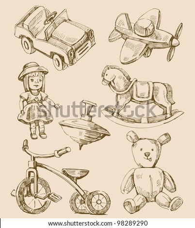 hand drawn vintage toys collection - stock vector
