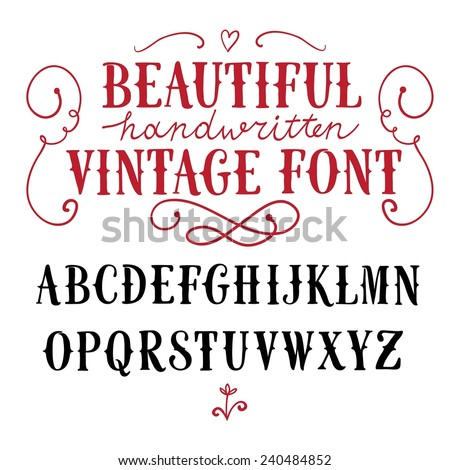 Hand drawn vintage vector ABC letters.Nice font for your design.  - stock vector