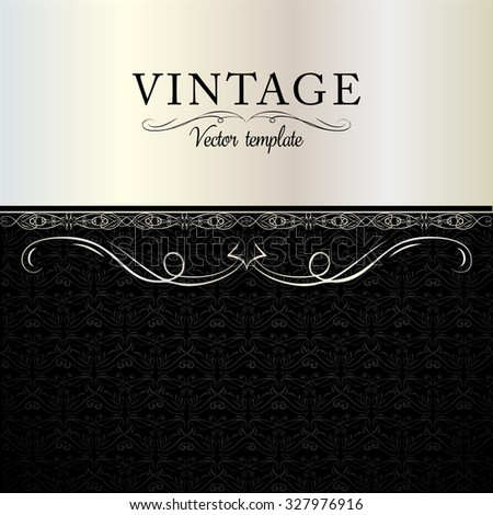 Hand-drawn vintage vector design card template with curl line frame border for corporate style