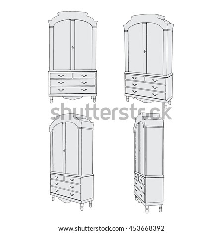 hand drawn wardrobe sketch classic style stock vector 457418395 shutterstock. Black Bedroom Furniture Sets. Home Design Ideas