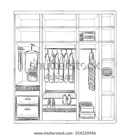 Hand Drawn Wardrobe Sketch Room Interior With Clothes