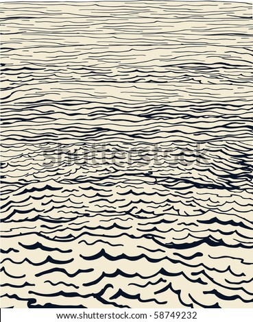 Hand drawn water waves - stock vector