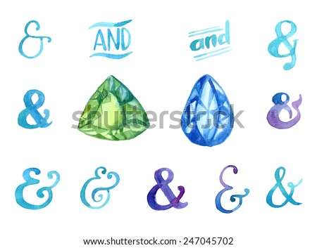 Hand drawn watercolor ampersands and gemstones set for your design - stock vector