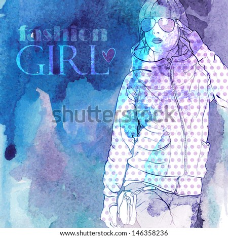 Hand drawn watercolor background with illustration of a pretty girl in sketch style. Vector illustration. - stock vector