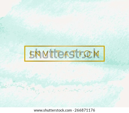 Hand drawn watercolor brush strokes invitation design. Turquoise blue and golden color palette. Modern and elegant wedding design invitation. - stock vector
