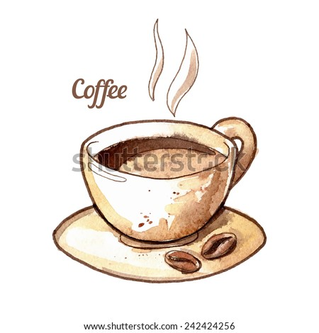 Hand drawn watercolor coffee cup illustration. Isolated vector EPS. - stock vector