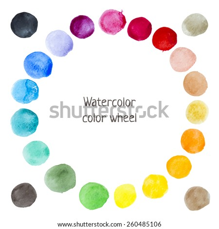 Hand-drawn watercolor color wheel. Painted vector circle stains. - stock vector