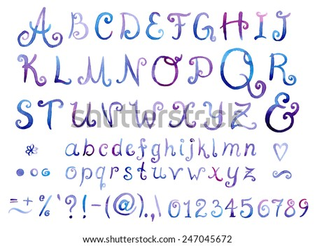 Hand drawn watercolor elegant funny font with swirls - stock vector