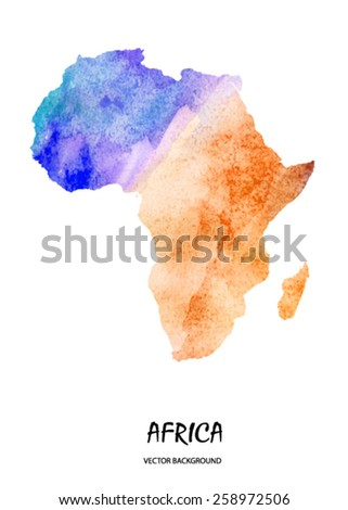 hand drawn watercolor map of Africaa isolated on white. Vector version - stock vector