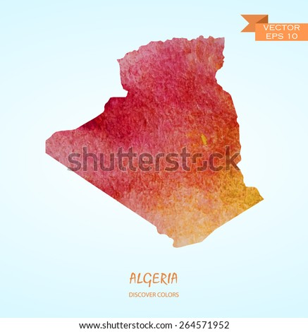 hand drawn watercolor map of Algeria isolated. Vector version - stock vector
