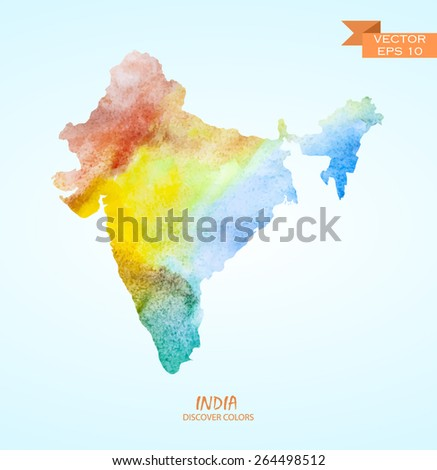 hand drawn watercolor map of India isolated. Vector version - stock vector