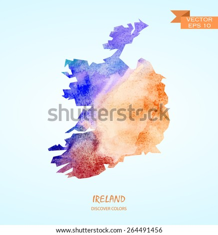 hand drawn watercolor map of Ireland isolated. Vector version - stock vector