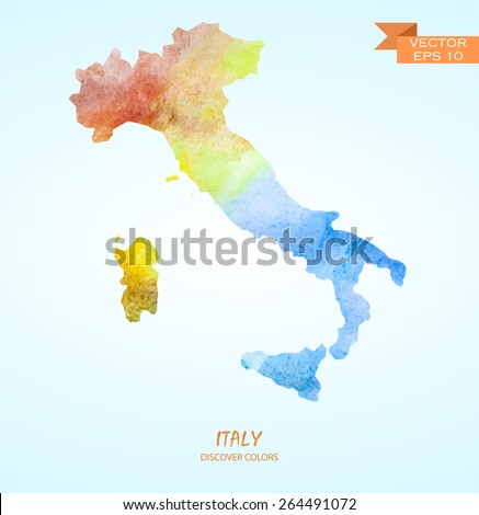 hand drawn watercolor map of Italy isolated. Vector version - stock vector