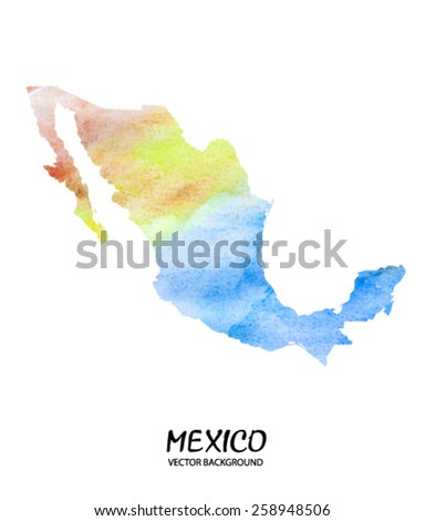 hand drawn watercolor map of Mexico isolated on white. Vector version - stock vector