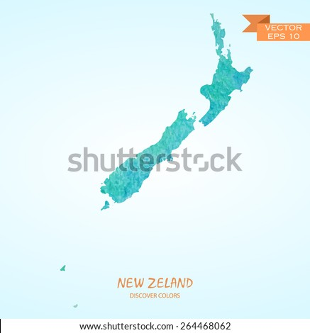 hand drawn watercolor map of New Zealand isolated. Vector version - stock vector