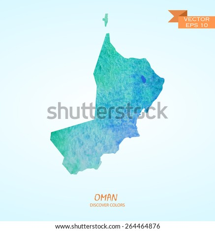 hand drawn watercolor map of Oman isolated. Vector version - stock vector