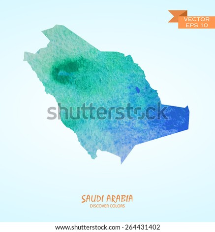 hand drawn watercolor map of Saudi Arabia isolated. Vector version - stock vector