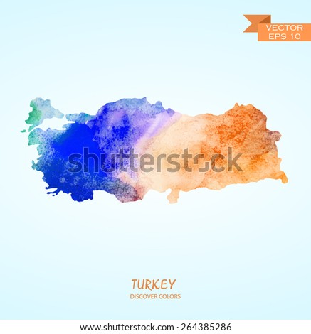 hand drawn watercolor map of Turkey isolated. Vector version - stock vector