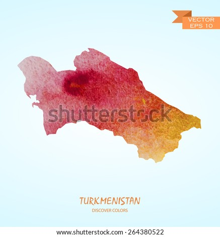 hand drawn watercolor map of Turkmenistan isolated. Vector version - stock vector