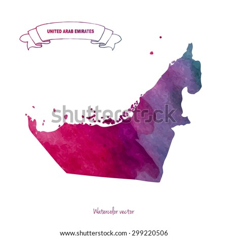 Hand drawn watercolor map of United Arab Emirates isolated, Purple, violet, dark red colors, Watercolor ribbon with UAE, Vector Watercolor Background - stock vector
