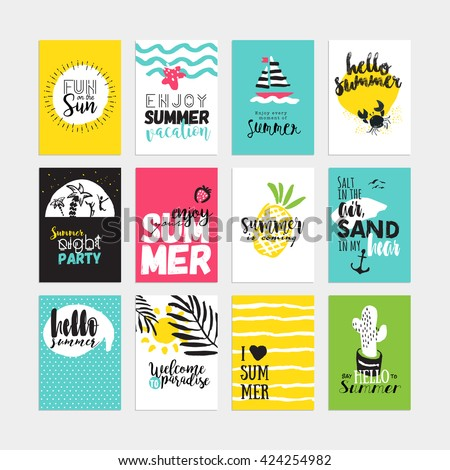 Hand drawn watercolor summer cards and banners collection. Vector illustrations for graphic and web design, for summer vacation, beach party, greeting cards, enjoying the sun and sea - stock vector