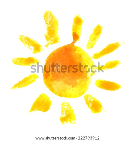 hand drawn watercolor sun icon - stock vector