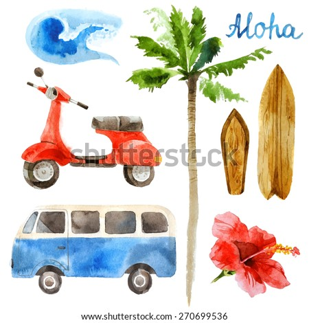 Hand drawn watercolor surfing set in retro style - stock vector