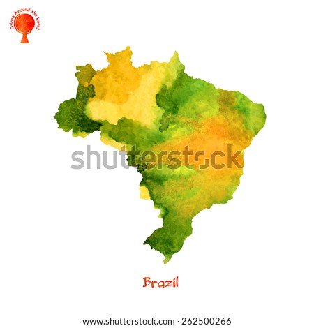 Hand-drawn watercolor texture map of Brazil (with a stamp and title) - stock vector
