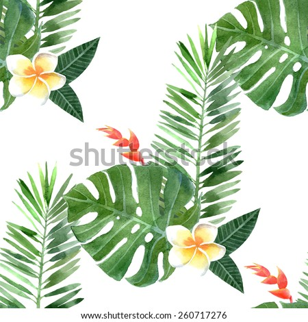 hand drawn watercolor tropical plants seamless - stock vector