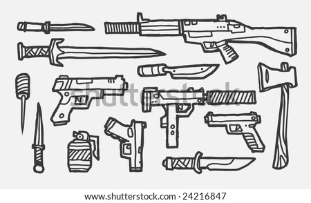 Hand-drawn weapons. Vector illustration. - stock vector