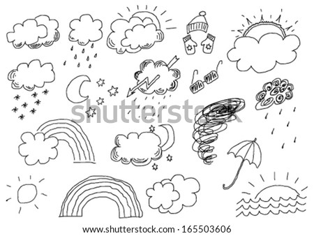 hand drawn weather set - stock vector