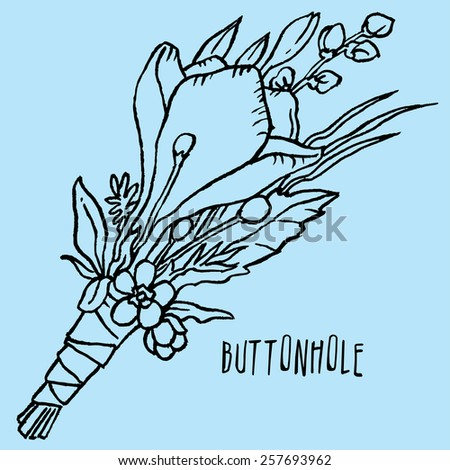 hand drawn wedding bouquet buttonholes with flowers - stock vector