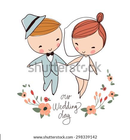 Hand drawn wedding couple - stock vector