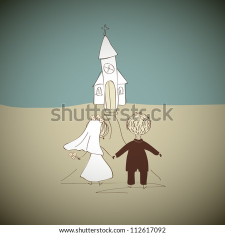 Hand drawn wedding couple going to the church - stock vector