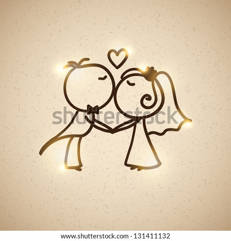 hand drawn wedding couple on realistic textured cardboard - stock vector