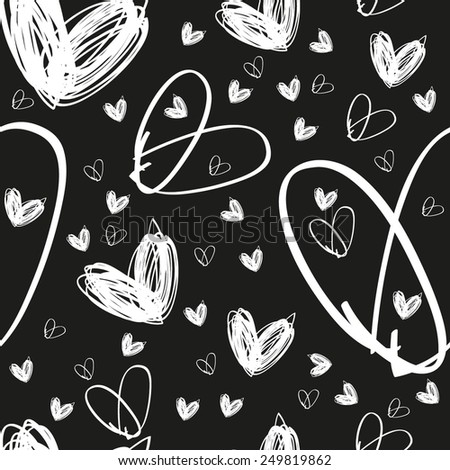 hand drawn white heart texture on black background, textile or packing paper, background for landing page or site, greetings card, doodle, sketch - stock vector