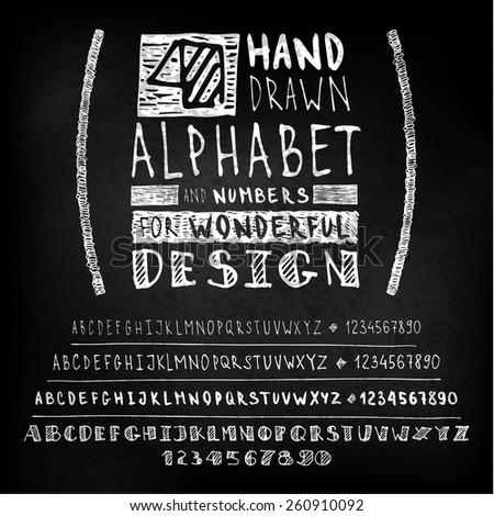 Hand drawn white letters and numbers on blackboard. Vector set - stock vector