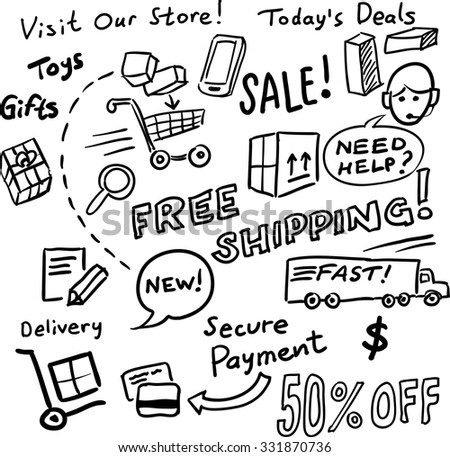 Hand drawn whiteboard sketch - shopping and sales - stock vector