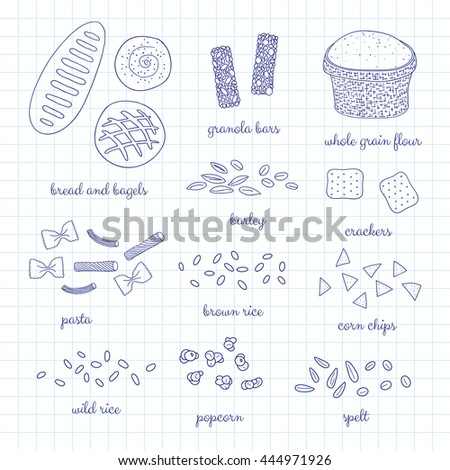 Hand drawn whole grain foods on graph paper background. Bread, bagel, pasta, popcorn, granola bars, crackers, rice, spelt, barley, flour, corn chips. - stock vector